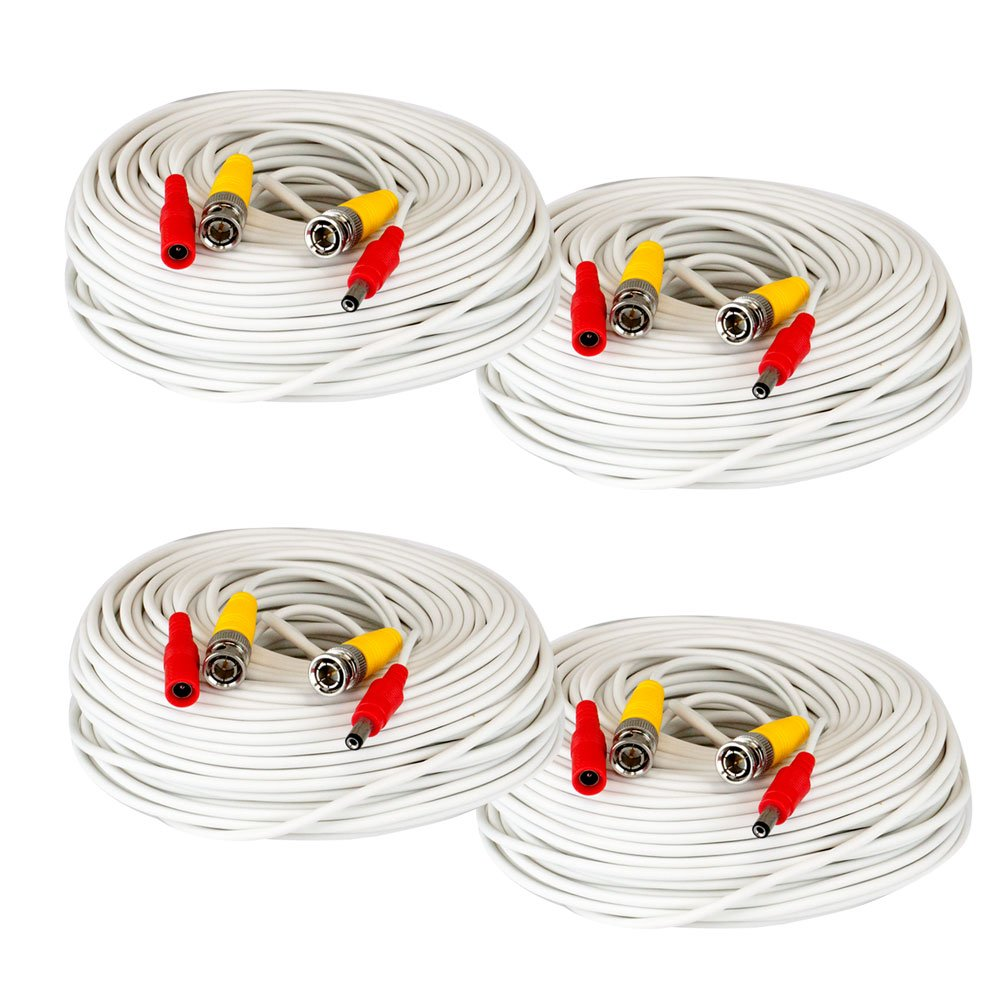 4 x 150 Foot Pre-made All-in-one BNC Video and Power Cable with Connector for Security Camera (White) by GW Security Inc