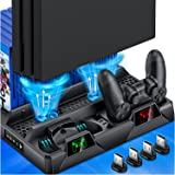PS4 Stand Cooling Fan for PS4 Slim/PS4 Pro/PlayStation 4,PS4 Pro Stand Vertical Stand Cooler with Dual Controller Charge Stat