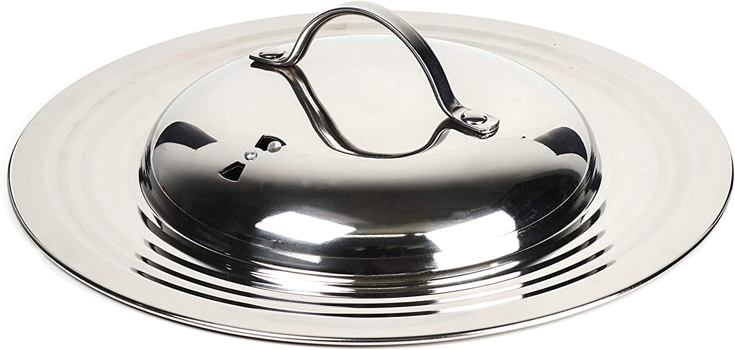 RSVP International Endurance Universal Lid with Adjustable Steam Vent, One Size - Stainless Steel, 12.5