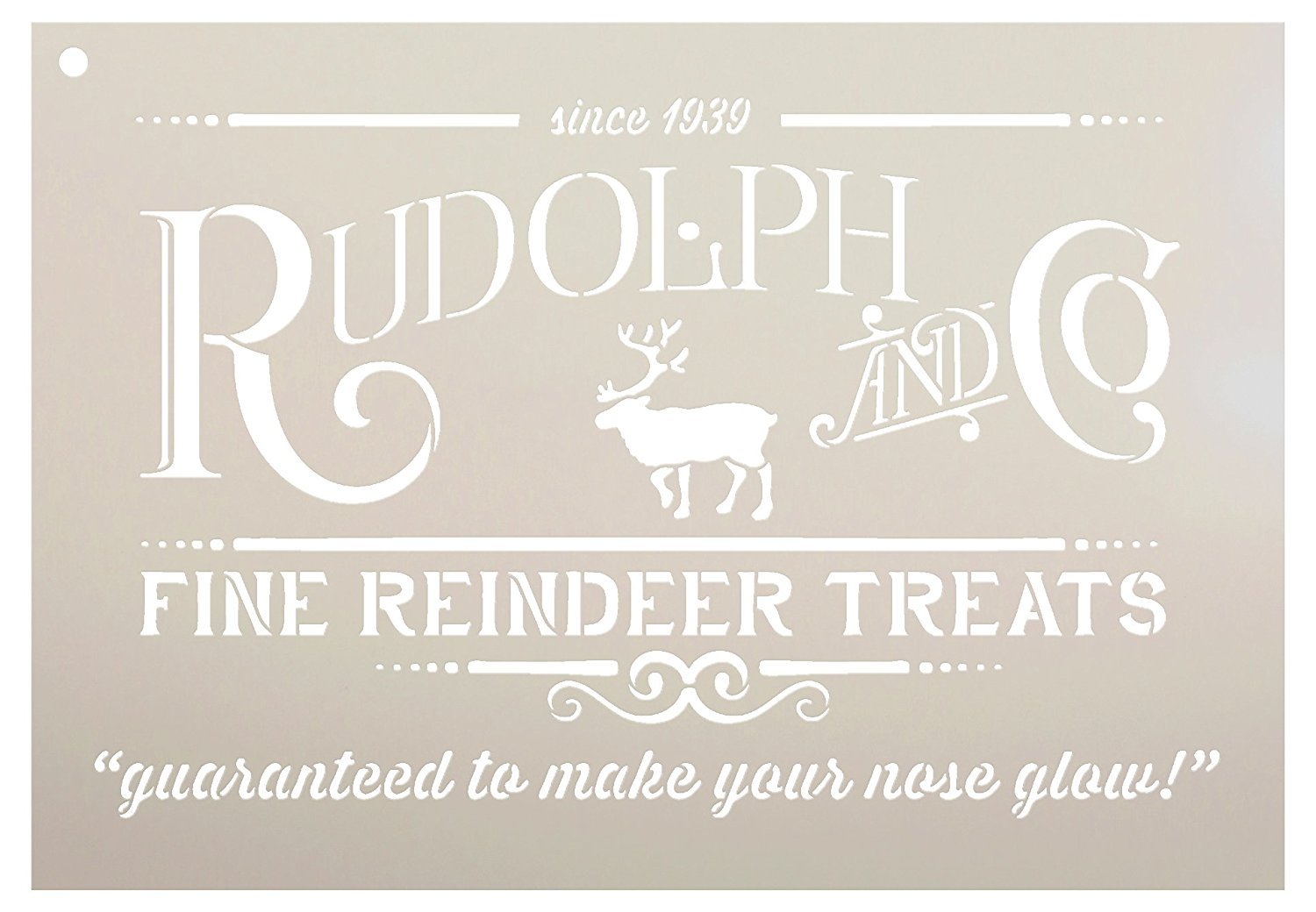 Rudolph and Co. Stencil by StudioR12   Reindeer Treats Christmas Word Art - Reusable Mylar Template   Painting, Chalk   Use for Crafting DIY Christmas Signs for Holiday Decor (13'' x 9'')