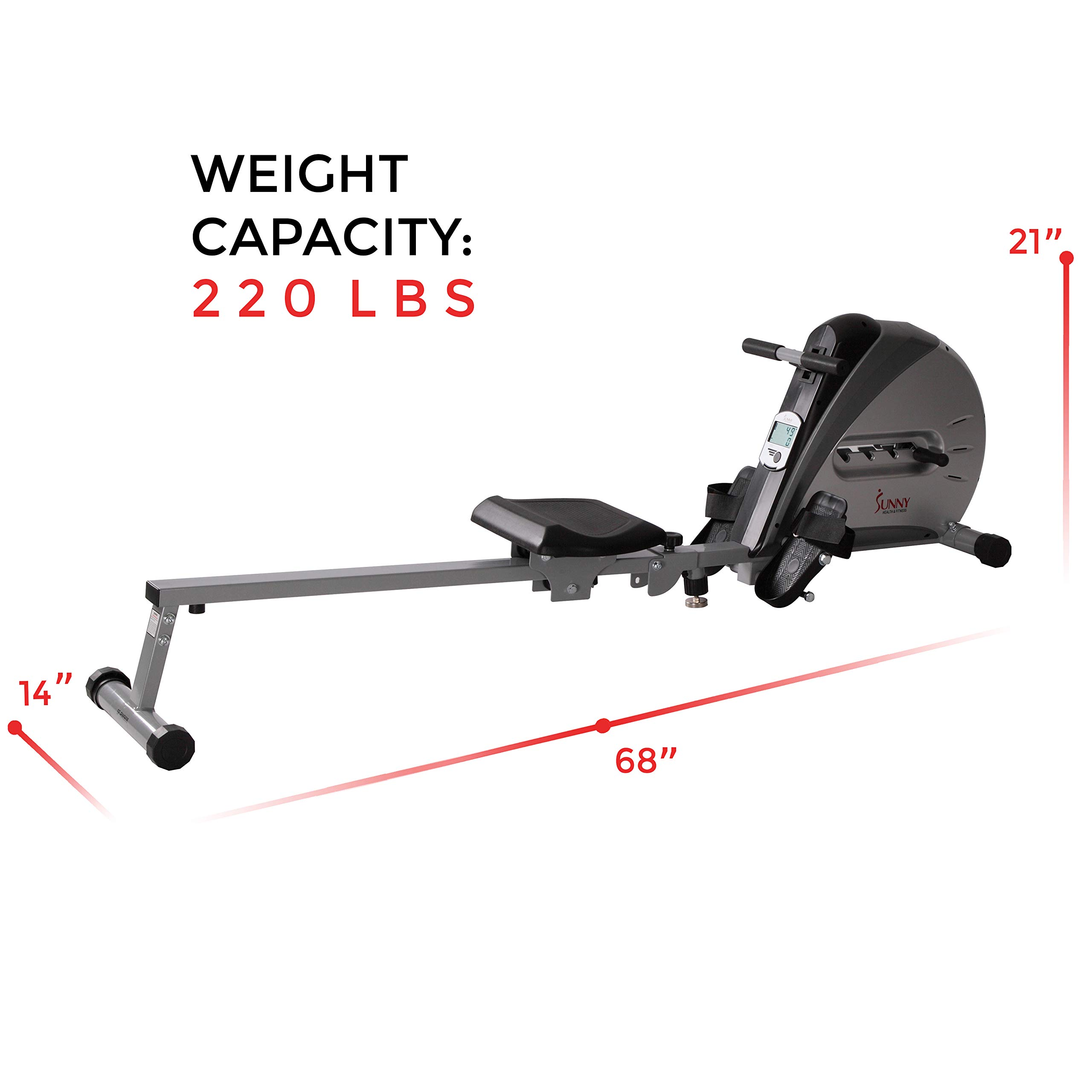 Sunny Health & Fitness Rowing Machine Rower Ergometer with Durable Elastic Cord, Digital Monitor, Inclined Slide Rail and Foldable -  SF-RW5606 by Sunny Health & Fitness (Image #9)