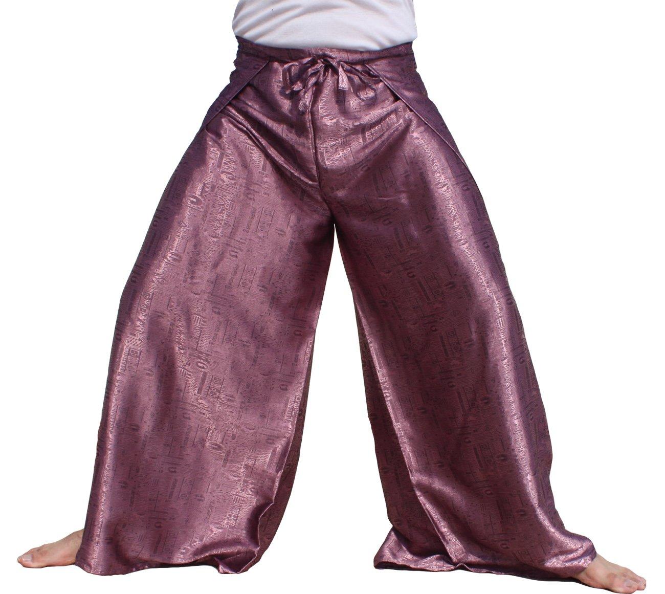 RaanPahMuang Brand Geometric Thick Textured Silk Drive In Wrap Pants, Medium, Pink by RaanPahMuang