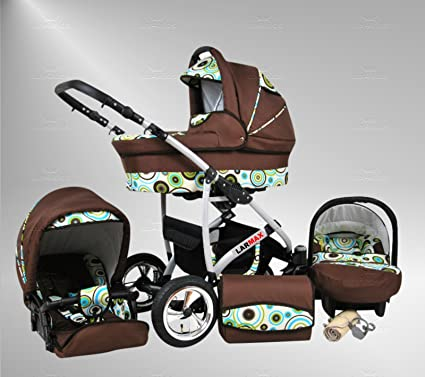 True Love Larmax 3 in 1 Cochecito Combinado Juego Completo (asiento del coche incluye adaptadores, cubierta para la lluvia, mosquitero, ruedas ...