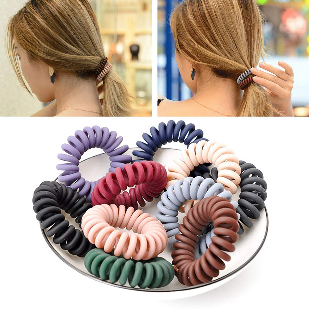 Amazon.com   10Pcs Spiral Hair Ties Power No Crease Hair Ring Rubber Coil  Hair Bands Ponytail Holders No Crease for Women Girls Colorful   Beauty 37d58fd6e5b