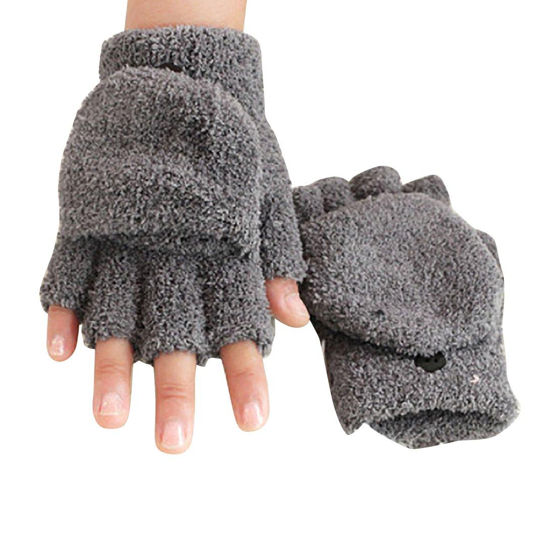 Women's Knitted Fingerless Mitten Coral Fleece Gloves with Flip Cover Shengyuze