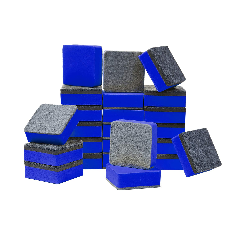 48-Pack Cute Magnetic Dry Blackboard Dry Erasers Cleaner,Blue