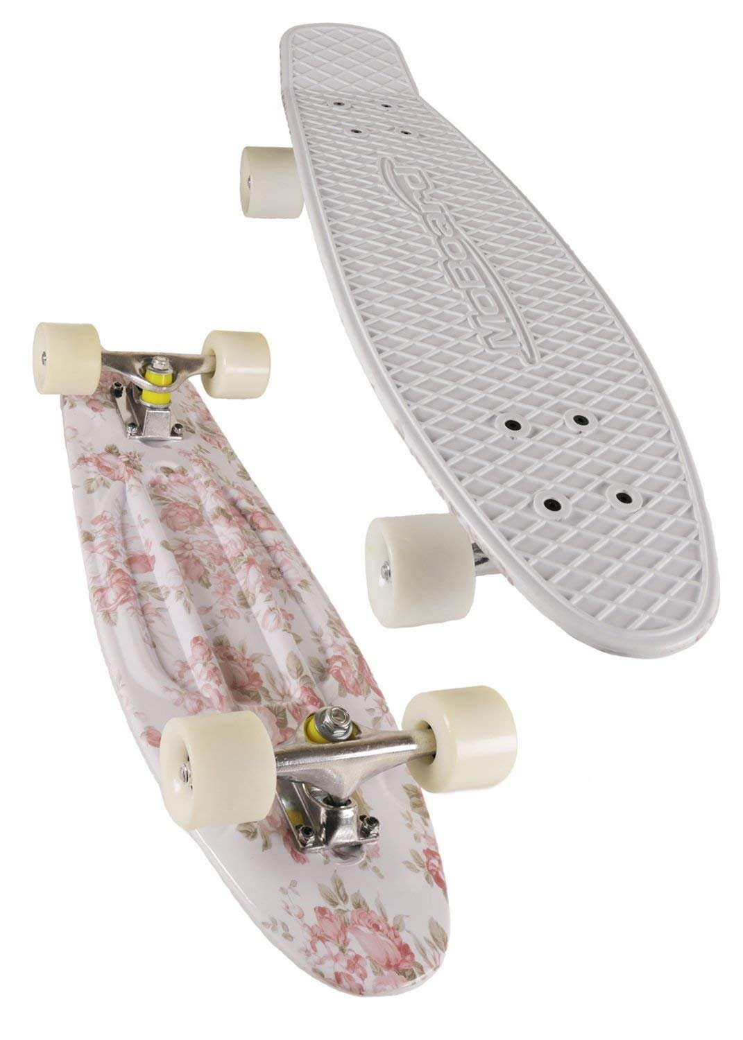 MoBoard Graphic Complete Skateboard   Pro/Beginner   22 inch Vintage Style with Interchangeable Wheels (Pink/Graphic - Lt Blue)  