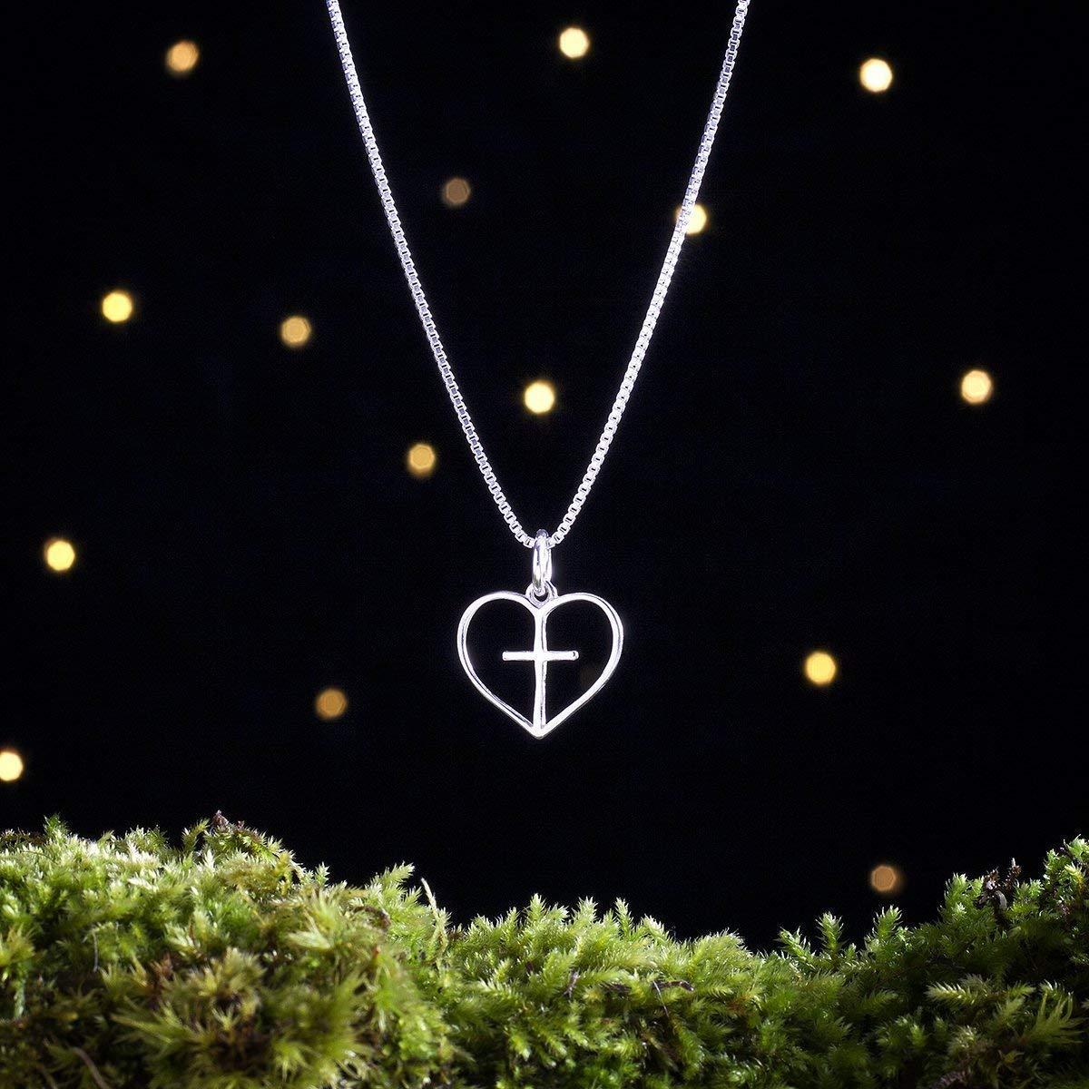 .925 Sterling Silver Heart Cross Charm Pendant