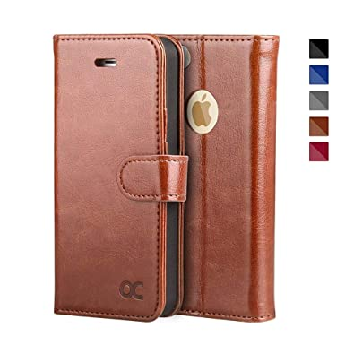 brand new 8dfdd 517b4 OCASE iPhone SE Case, iPhone 5S Case Leather Wallet Flip Case For Apple  iPhone 5/5S/SE Devices - Brown