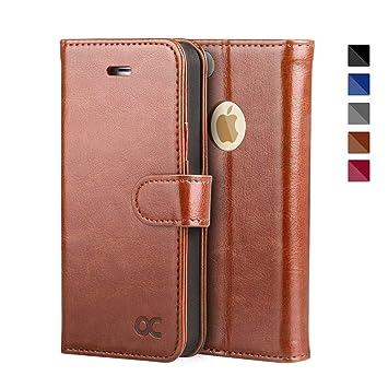 OCASE iPhone 5S Hülle, Handyhülle iPhone 5 Tasche Flip Case Cover Schutzhülle [Premium Leder] [Standfunktion] [Kartenfach] [M