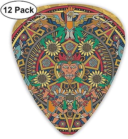 Calendario azteca Decoraciones de signos de suerte maya Elecciones de guitarra clásica Paquete de 12 para guitarra eléctrica, guitarra acústica, ...