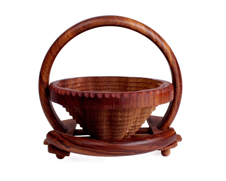 storeindya Elegant Hand Crafted Wooden Collapsible Fruit Bowl Bread Basket