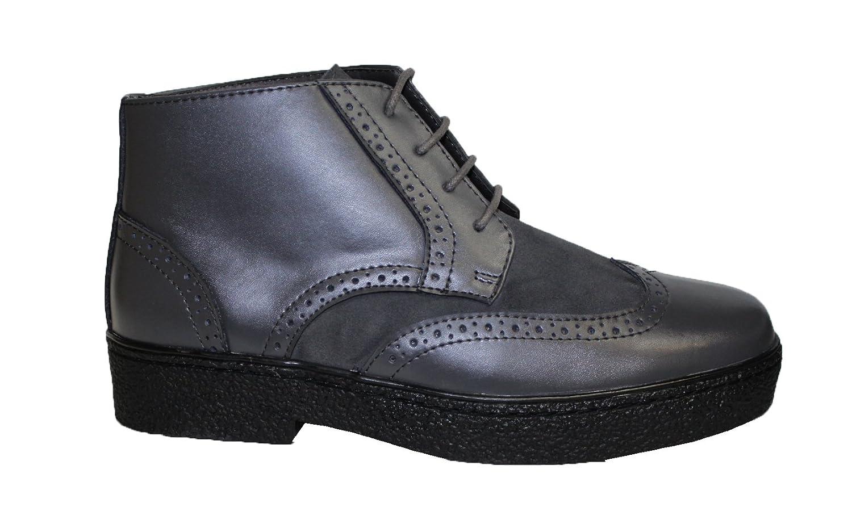Chukka Wingtip Mens Grey Leather Shoes Rocker British Style Playboy Style # 5613