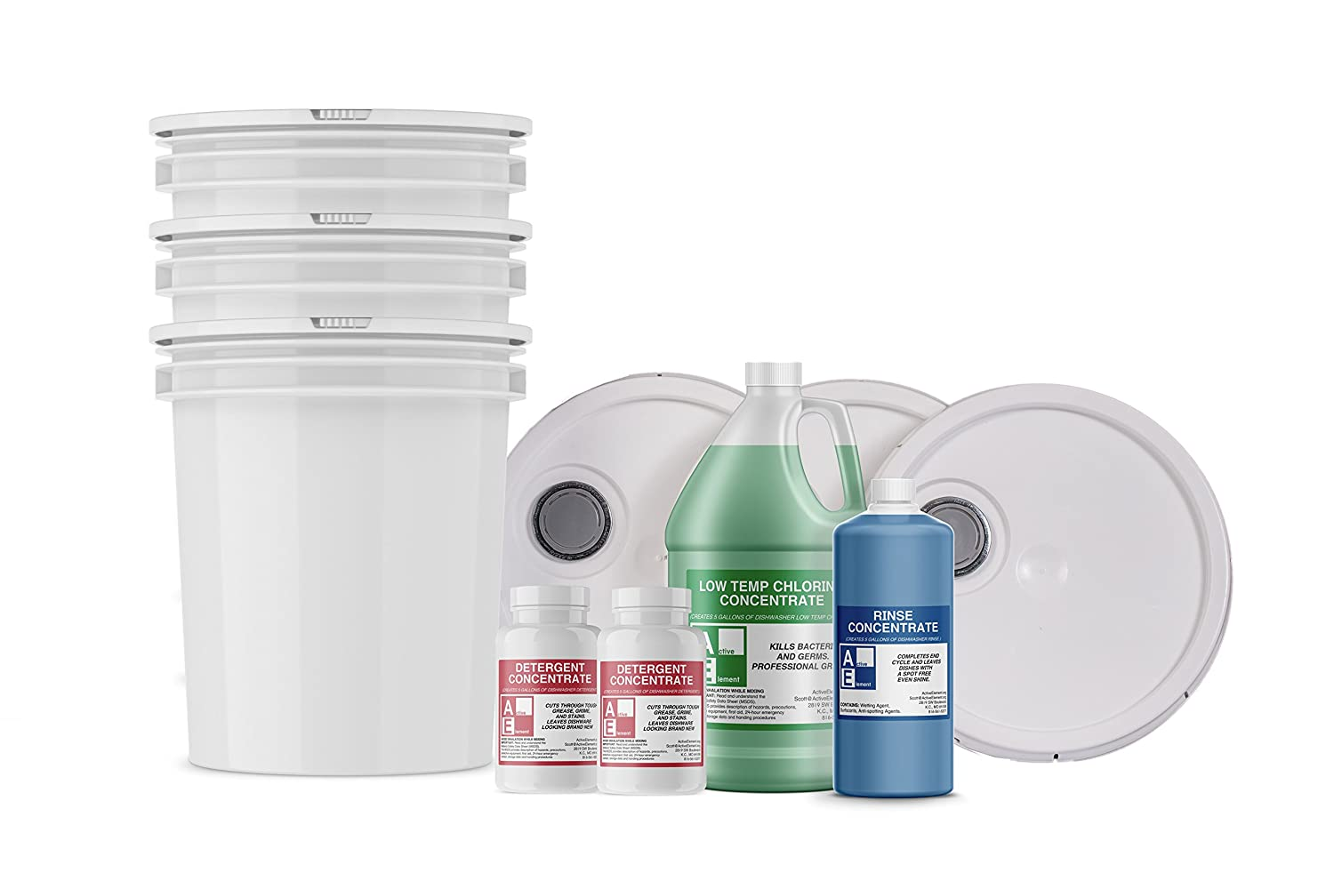 Starter Pack w/buckets (1-detergent, 1-chlorine, 1-rinse), Commercial Grade,