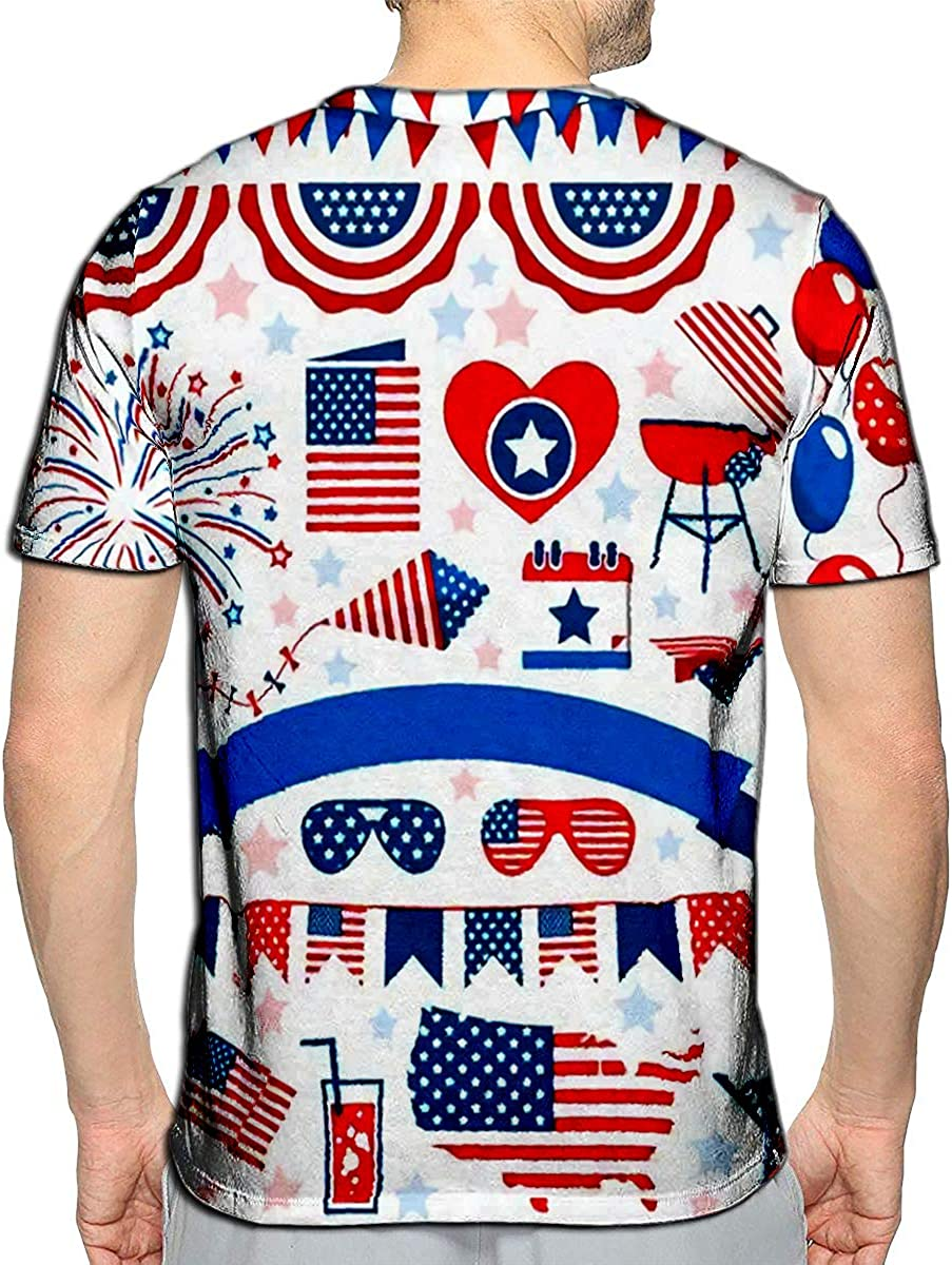 3D Printed T-Shirts USA Celebration Flat National Symbols Set for Independence Day Short Sleeve Tops Tees