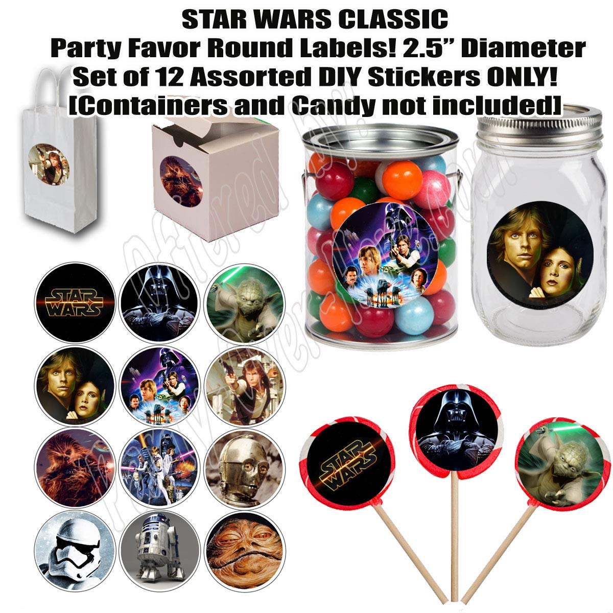 """A New Hope Empire Strikes Back Return of The Jedi Party Over Here Large 2.5/"""" Round Circle Stickers to Place onto Party Favor Bags Cards Boxes or Containers -12 pcs Star Wars Classic Stickers"""