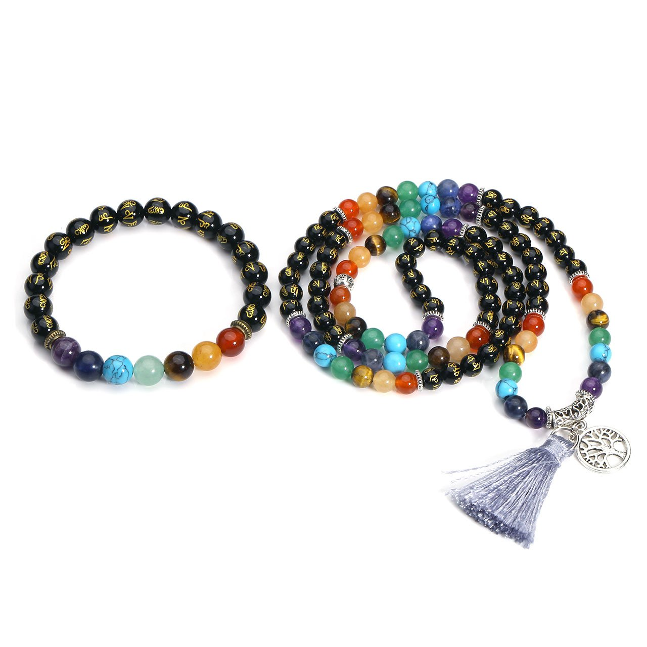 Jovivi 6mm Natural Black Agate Gemstones Om Mani Padme Hum Buddhist Prayer 108 Beads Tibetan Mala Necklace w/Tree of Life Charm + 7 Chakra Healing Crystal Bracelet