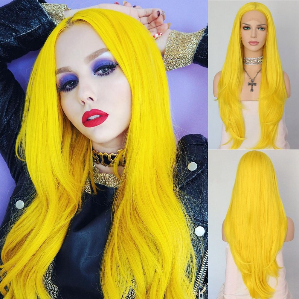 QD-Udreamy Sexy Yellow Heat Resistant Hair Synthetic Lace Front Wigs Hair Replacement Wigs