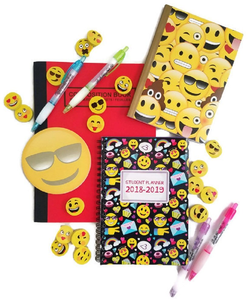 Emoji Back to School Bundle of 6 Includes Composition Notebook, Journal, Student Planner, Sticky Pad, Pens and Erasers - Expressions May Very
