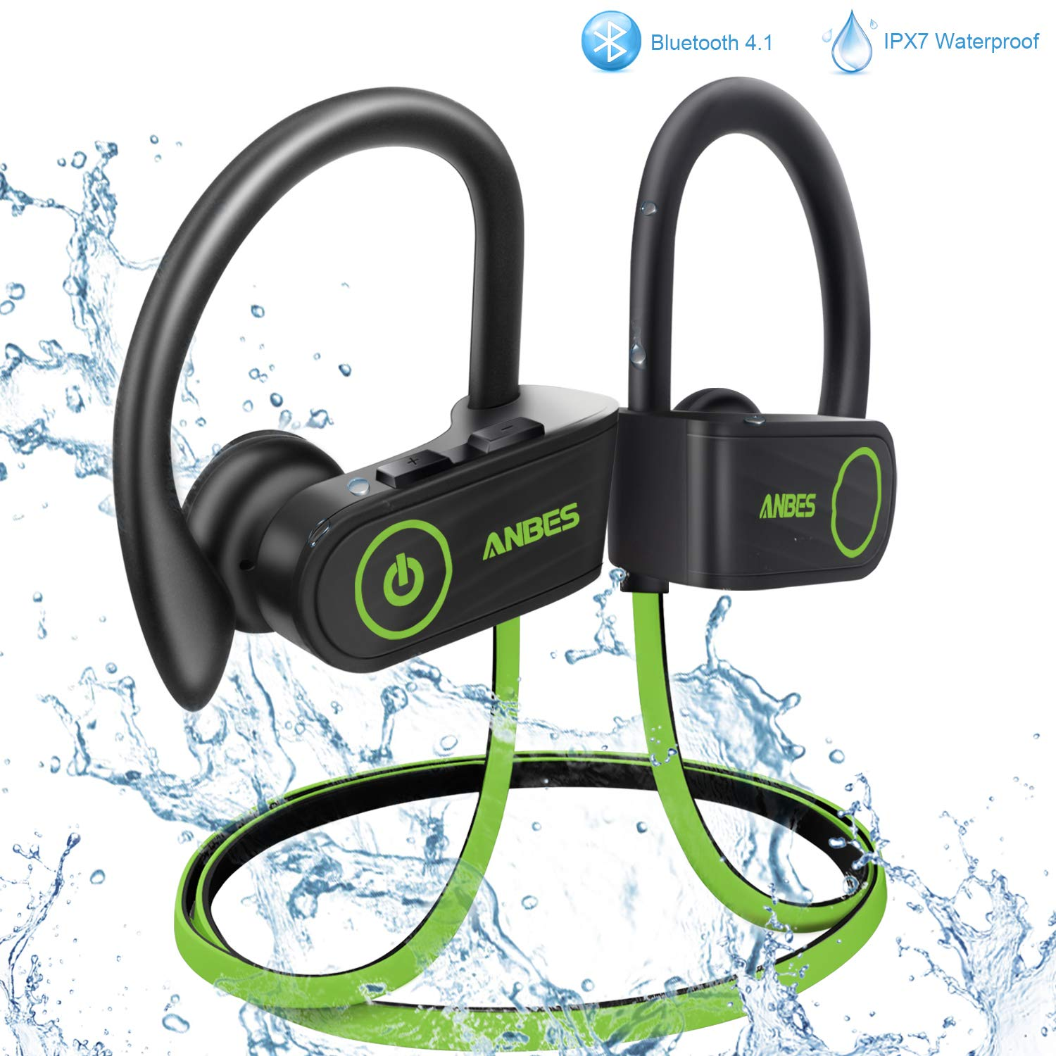 ANBES Bluetooth Headphones Wireless Earbuds, IPX7 Waterproof in-Ear Earphones Sports with Ear Hooks & Mic, HD Stereo Sound, Up to 8 Hours Playing Noise Canceling Headsets (GreenBlack)