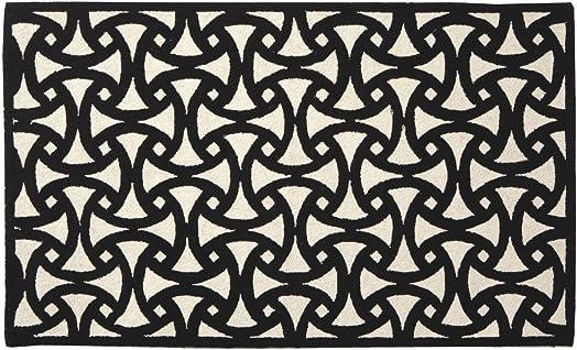 Trina Turk for Peking Handicraft Santorini 27 by 40-Inch Hook Rug, Black