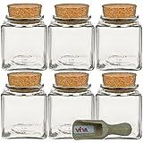 Viva-Haushaltswaren - Tarros de cristal (6 unidades 200 ml tapón de corcho para especias sal hierbas etc. incluye pala pequeña de madera de 75 cm)