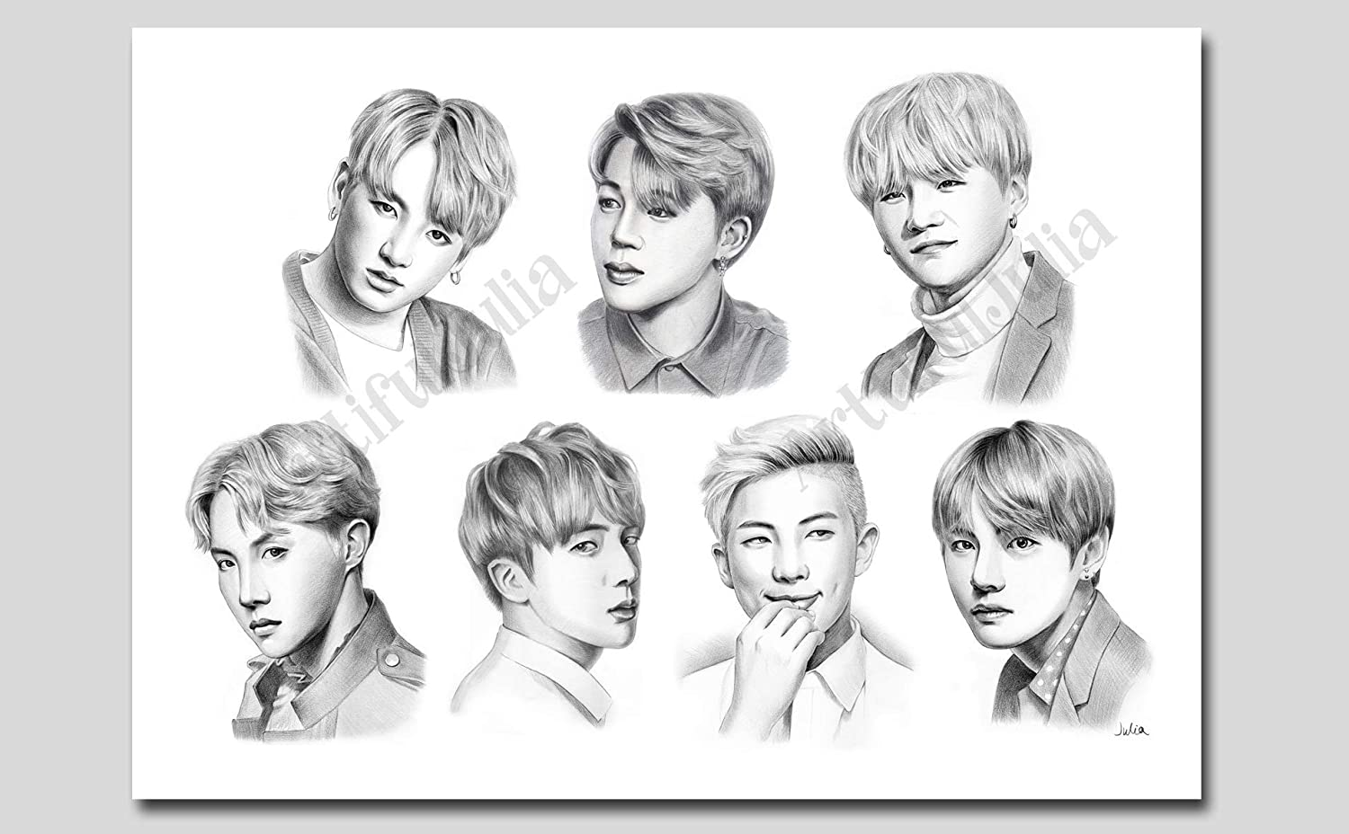 Amazon Com Bts Poster Pencil Drawing Art Print Of Watercolor Painting No Frame No Canvas 5 X 7 8 X 10 9 X 12 11 X 14 And 12 X 16 Handmade