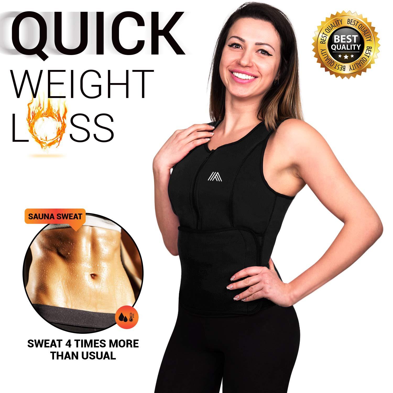 AQUIVA Neoprene Sweat Sauna Suit Trainer Vest for Women with Adjustable Waist Trimmer Belt for Weight Loss (Black, X-Small)