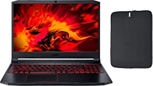 "Acer Nitro 5 15.6"" FHD IPS Gaming Laptop w/ Woov Sleeve, Intel Quad-Core i5-10300H, 16GB RAM, 128GB PCIe SSD Boot + 1TB HDD, NVIDIA GeForce GTX 1650 4GB, Backlit Keyboard, USB-C, HDMI, Windows 10 Home"