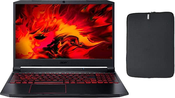 "Acer Nitro 5 15.6"" FHD IPS Gaming Laptop w/ Woov Sleeve, Intel Quad-Core i5-10300H, 16GB RAM, 256GB PCIe SSD Boot + 1TB HDD, NVIDIA GeForce GTX 1650 4GB, Backlit Keyboard, USB-C, Windows 10 Home"