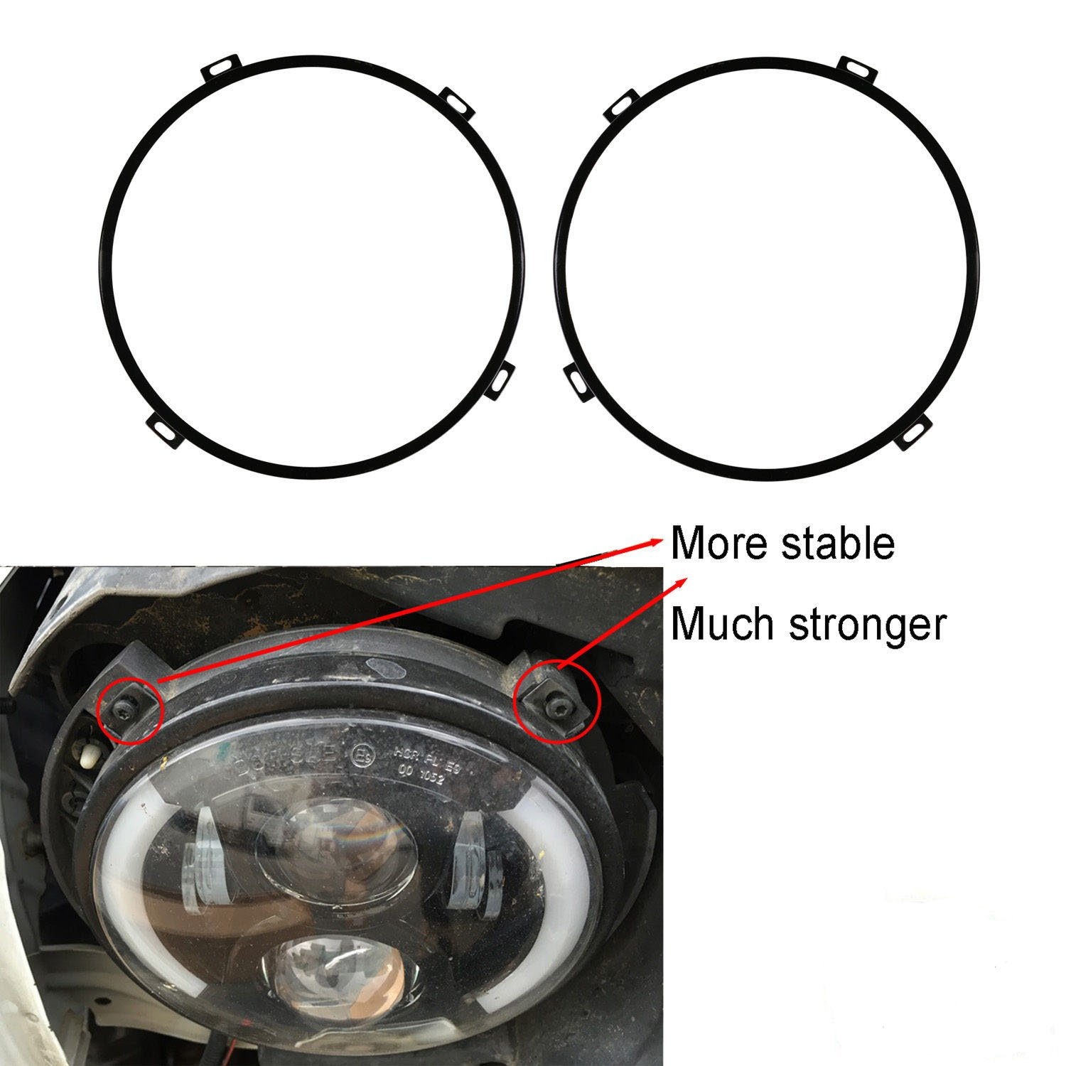 Best Rated In Automotive Headlight Assembly Mouldings Helpful Relays As Well 2008 Mazda 3 Fog Lights Relay Wiring Kkone Black 7 Retaining Ring Headlamp Bezel For Jeep Wrangler Jk 2007
