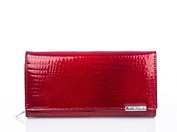 27420b01cefd8 Damen neu groß rot lackleder Geldbörse Geldbeutel Portmonee echt leder  Portemonnaie Damenbörse