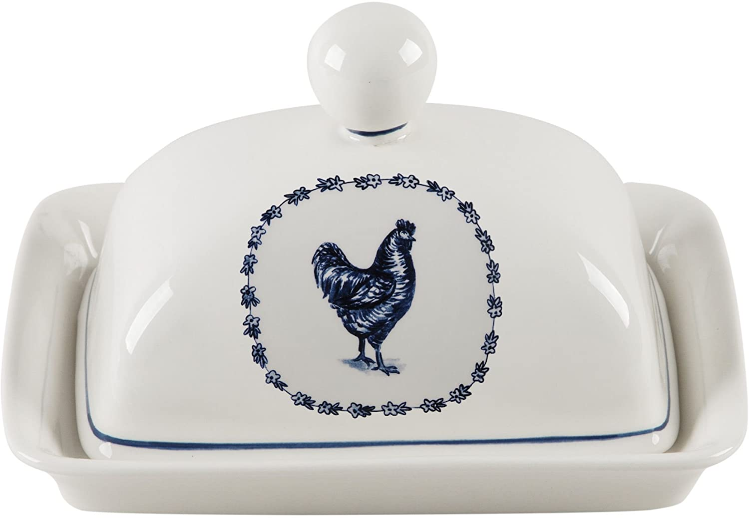 Home Essentials 61239 Molly HatchヴィンテージFarm RoosterセラミックCoveredバターディッシュ、7