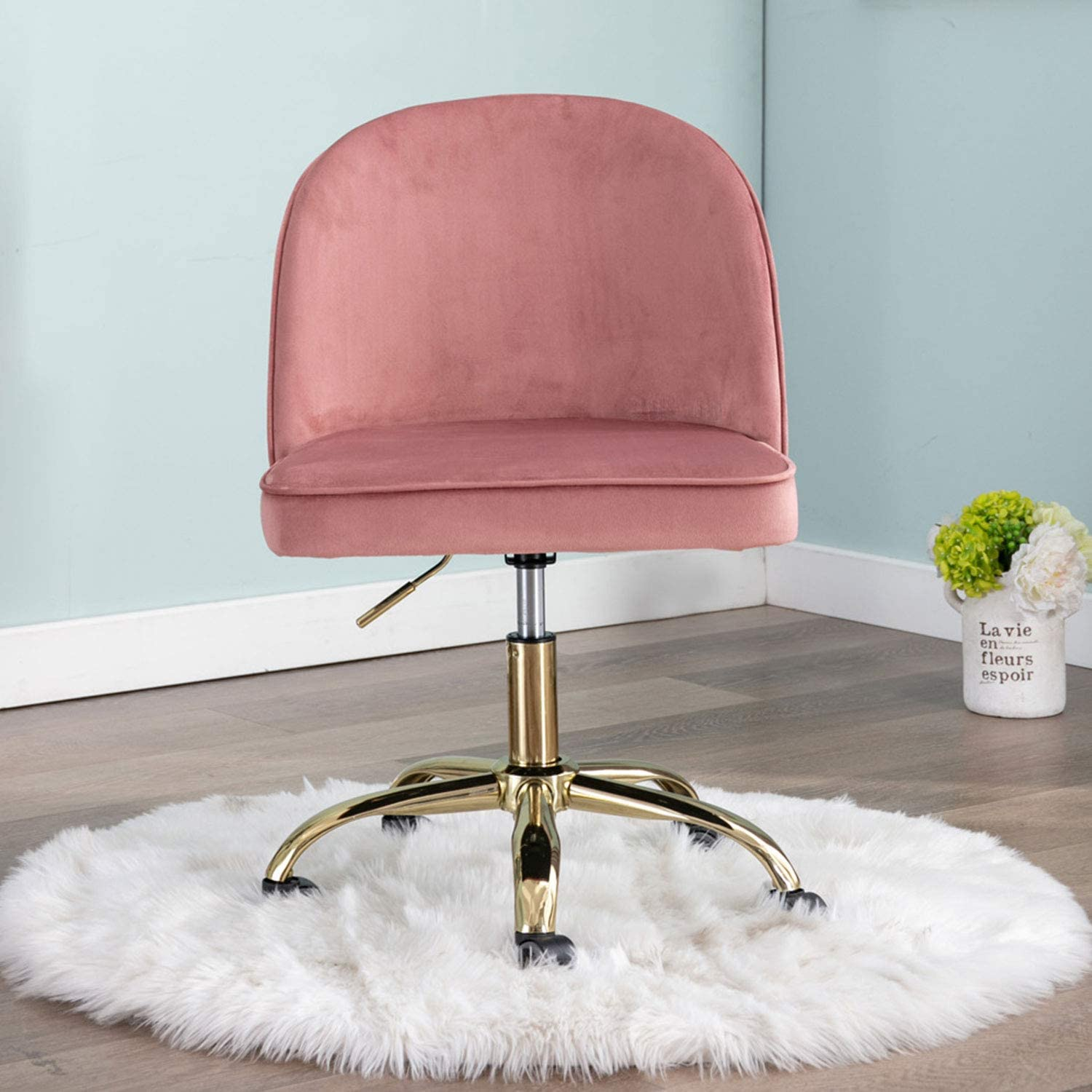 Adjustable Round Back Office Chair, Velvet Makeup Stool, Pneumatic Rolling Swivel Armless Task Chair with Gold Plating Base (Dusty Rose Pink)