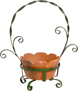 Red Co. Vintage Farmhouse Terra Cotta Plant Pot with Metal Garden Planter Holder, Green/Brown, Large