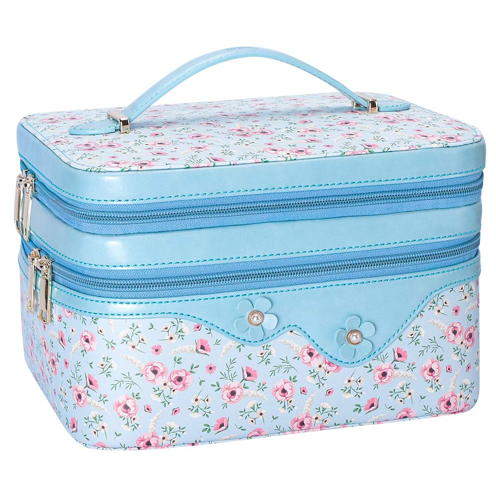WWW Toiletry Travel Bag Makeup Bag Travel Cosmetic Bag for Women, Travel Jewelry Organizer,Portable Multifunctional Makeup Case Jewelry Travel Case with Adjustable Dividers Navy Blue