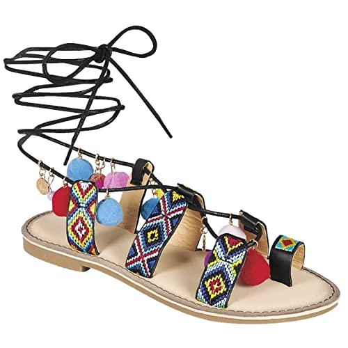 379dd99a1efd7 SNJ Women s Pom Pom Aztec Gypsy Gladiator Lace Up Strappy Flat Sandals