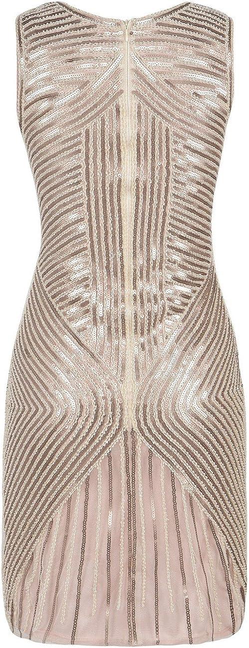 kayamiya Womens 1920s Dress Beaded Sequined Embellished Flapper Evening Dress