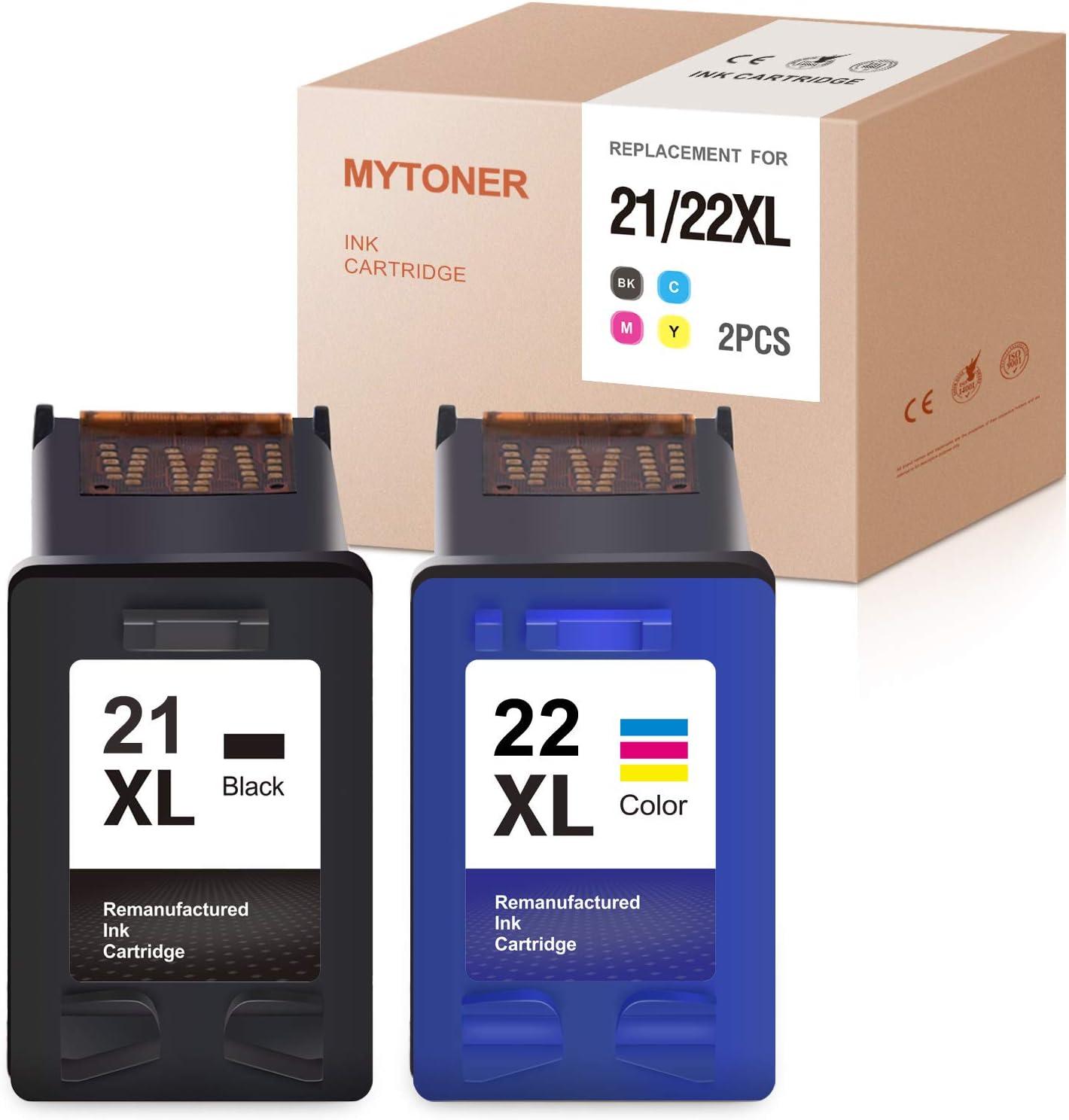MYTONER Remanufactured Ink Cartridge Replacement for HP 21XL 22XL 21 XL 22 XL Ink for Officejet 3625 Deskjet 3915 3930 3940 D1420 D1455 D1520 D1530 D1560 D1341 D2460 PSC 1410(Black Tri-Color, 2-Pack)