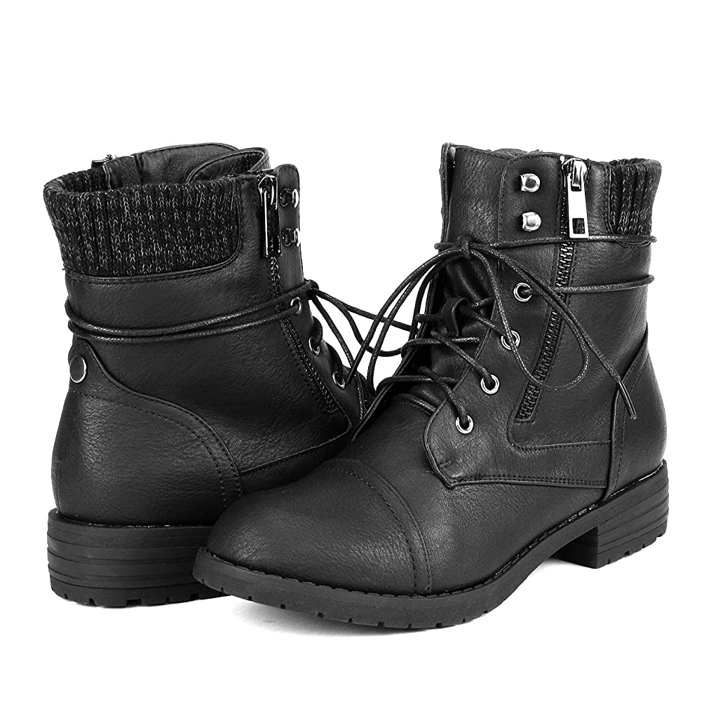 DREAM PAIRS Womens Lace Up Ankle Bootie