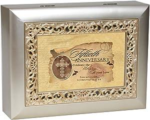 Cottage Garden 50th Anniversary Silvertone Gold Inlay Jewelry Music Box Plays Amazing Grace