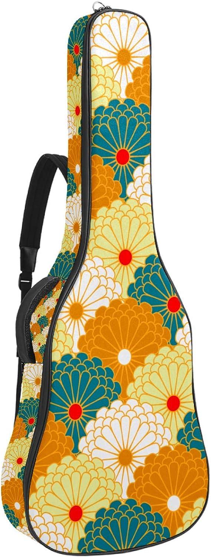 Bolsa de guitarra reforzada con esponja gruesa y extra acolchada, funda para guitarra, cuna para el cuello, gancho trasero para guitarra acústica clásica, flor de crisantemo japonés tradicional