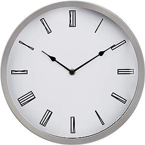 "AmazonBasics 12"" Roman Wall Clock, Nickel"