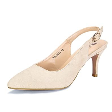 e2b699e07f0 IDIFU Women s IN3 Slingback Dress Pumps Pointed Toe Kitten Heel Party Shoes  Nude Suede 5 M