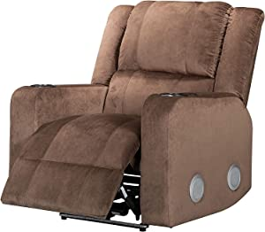 ICE ARMOR LCH8335BR-99 Power USB Port Electric Cup Holders LED Lights Home Theater Seating Bedroom and Living Room Recliner Sofa Chair Bluetooth Wireless Speakers, Brown