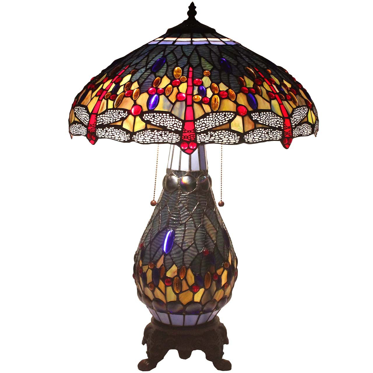 Bieye L11403 26 Inch Dragonfly Tiffany Style Stained Glass Table