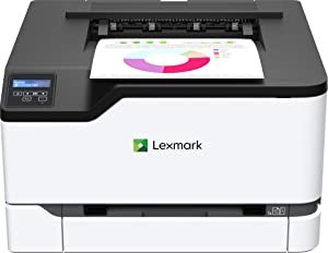 Lexmark C3326dw Color Laser Printer with Wireless Capabilities, Standard Two-Sided Printing, Two Line LCD Screen with Full-Spectrum Security and Prints Up to 26 ppm (40N9010), White/Gray