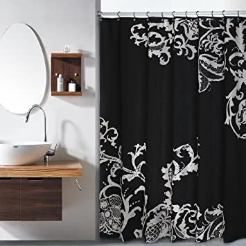 Duck River Textiles Isabella Faux Silk Shower Curtain In Black Silver