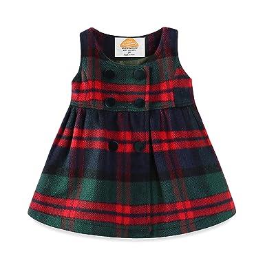 c20b6bdf52e4 Amazon.com  Mud Kingdom Faux Wool Holiday Girls Dresses Plaid ...