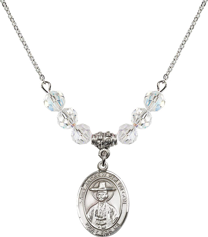 Bonyak Jewelry 18 Inch Rhodium Plated Necklace w// 6mm White April Birth Month Stone Beads and Saint Andrew Kim Taegon Charm
